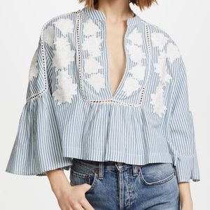 Free People Blue/white Stripe Top with Embroidery